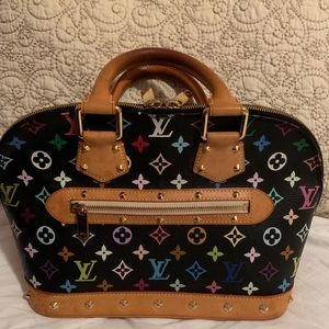 💯 Louis Vuitton Alma Black Murakami LE